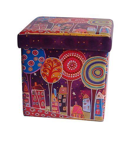 Childream Drvo tabure kutija 36cm x 36cm x 36cm ljubučasti ( 0181109 )