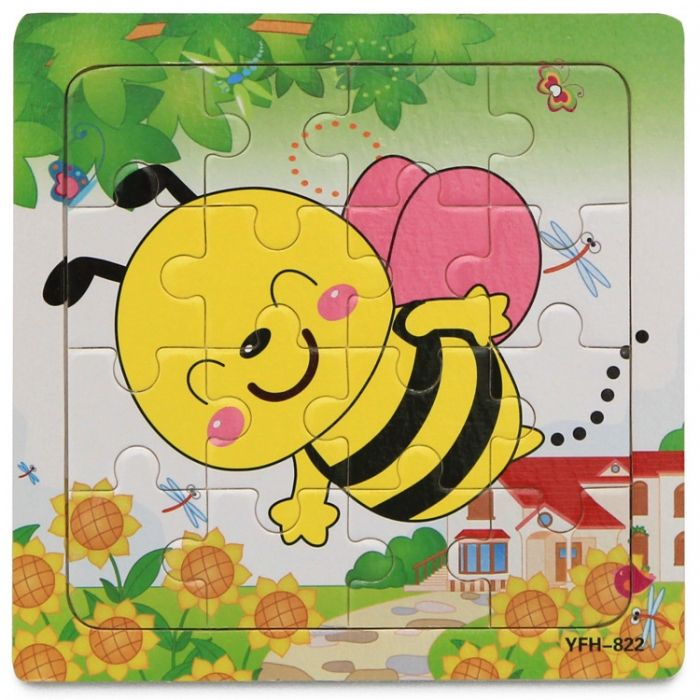 Hk Mini igračka drvena slagalica pčelica 15x15 ( 6261935 )