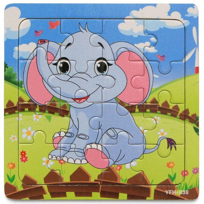 Hk Mini igračka drvena slagalica slonče 15x15 ( 6261934 )