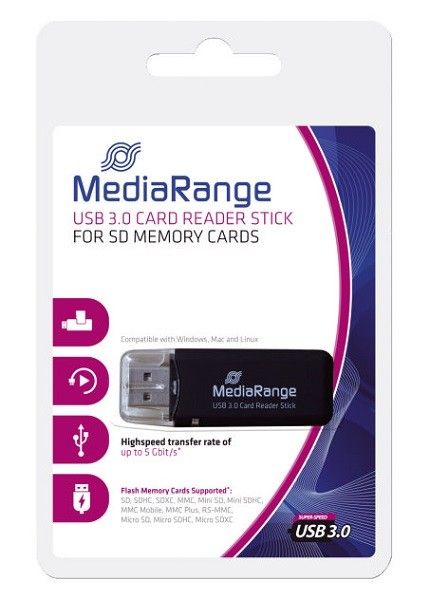 MediaRange Card Reader Stick USB 3.0 black ( MRCS507 )
