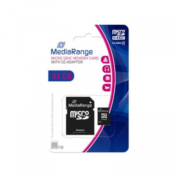 Mediarange 32GB Micro SDHC class 10 + SD adapter MR959 ( MCMR959/Z )