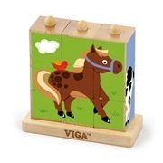 Viga Drvene kocke puzzle s postoljem - domaće životinje 9 kom ( 0126677 )