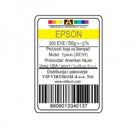 American Inkjet Epson SUBLIMACIONA YELLOW 300EYE/1400/1430 WF/XP (30ESY/Z)