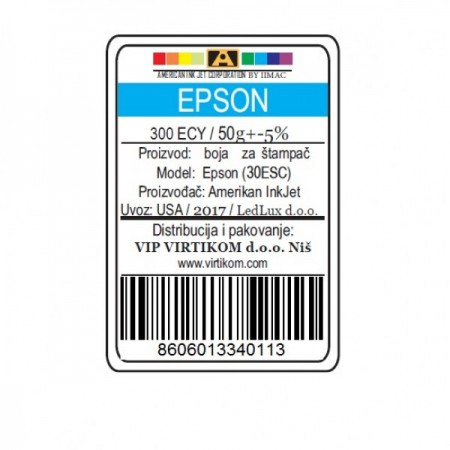 American Inkjet Epson SUBLIMACIONA CYAN 300ECY/1400/1430 WF/XP (30ESC/Z)