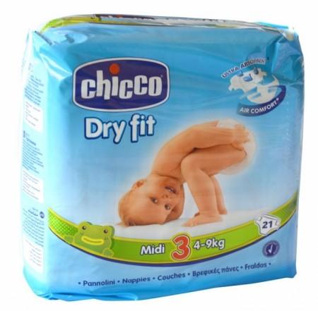 Chicco pelene DRYFIT 3 Midi 4-9 kg,21 kom ( 1040076 )