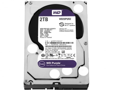 WD 2TB 3.5 SATA III 64MB IntelliPower WD20PURZ Purple