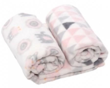 Kikka Boo Gift set Coral fleece ćebence Pink owls ( 31103020037 )