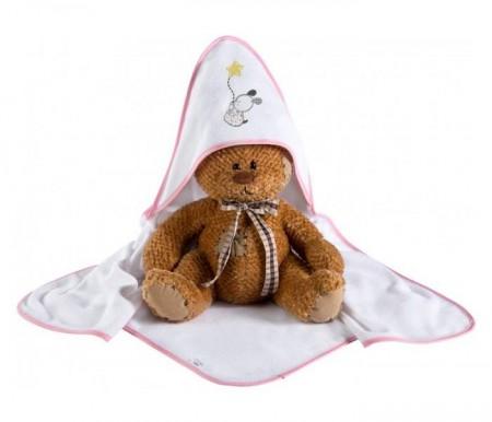Klups Peškir za bebe 100x100cm - choo choo pink ( K087T )