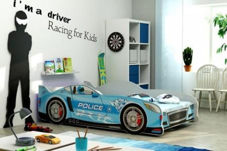Racer Police Krevet za decu 160x80 Plavi + Dušek ( racerpoliceplavi )