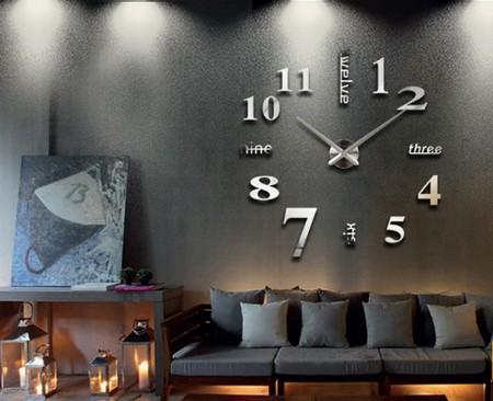 3D Zidni Sat samolepljivi - Srebrni ( T4311S )