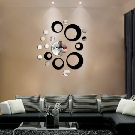 Akrilni Zidni Sat samolepljivi - Srebrno Crni ( T5432S )
