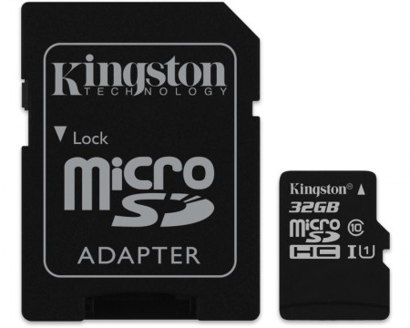Kingston UHS-I MicroSDHC 32GB 80R class 10 SDCS/32GB + adapter