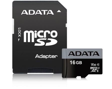 A-Data  UHS-I U3 MicroSDHC 16GB V30S class 10 + adapter ( AUSDH16GUI3V30S-RA1 )