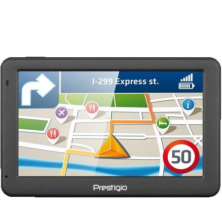 Prestigio GeoVision 5059 (5.0, TFT, 480Ž272, Win CE 6.0, CPU MSTAR 2531A 800 MHz, 128 MB RAM, 4 GB internal, FM, 950 mAh, Dark Grey, Plast