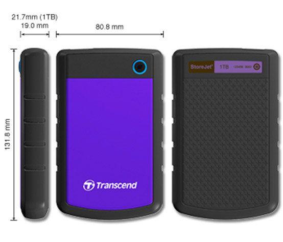Transcend TS1TSJ25H3P External HDD 1TB, USB 3.0, 2.5, Black/Purple