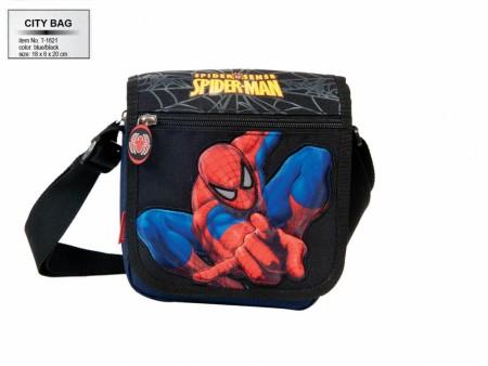 City bag Spiderman blue-black T-1621  ( 46545 )