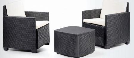 Bastenski set - sto + 2 fotelje - sivi TAPACIRA bez jastuka ( 030756 )