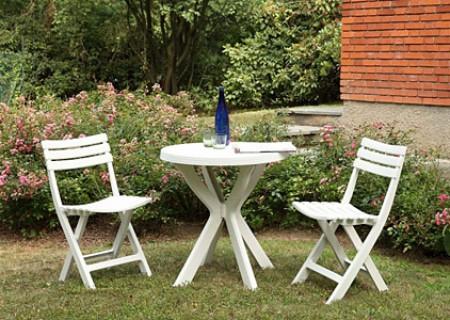 Bastenski set - sto + 2 stolice plasticni - beli bistro ( 030755 )