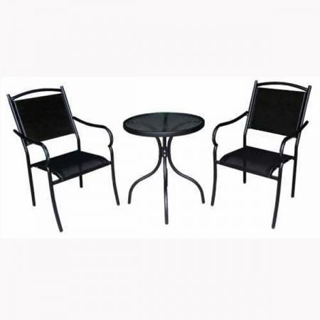 Bastenski set - sto + 2 stolice metalni - crni ( 023722 )