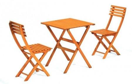 Bistro set - sto + 2 stolice drveni ( 035444 )