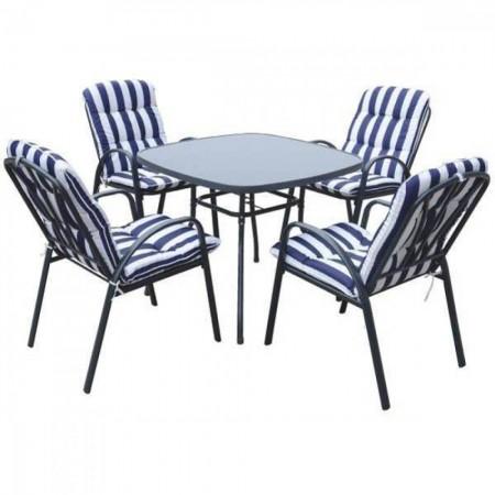 Bastenski set veneto - sto + 4 stolice sa jastucima ( 037984 )