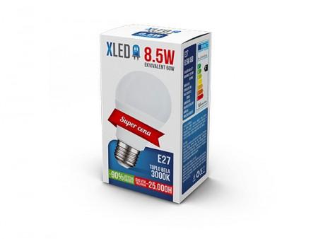 XLed Led Sijalica E27 -8.5W 220V Toplo bela 3000K ( E27 8.5 W )