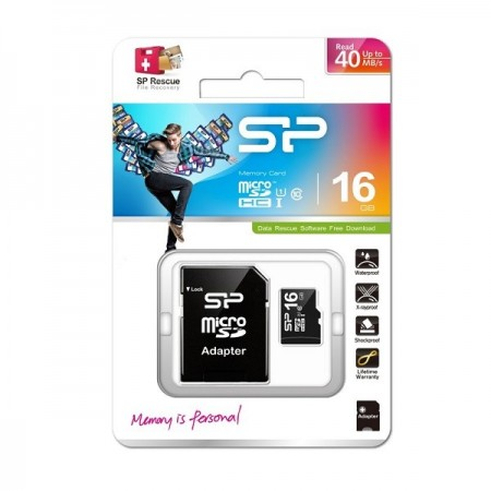 Silicon Power 16GB MicroSDHC cl10/U1+adapter ( MCSP16G10A/Z )