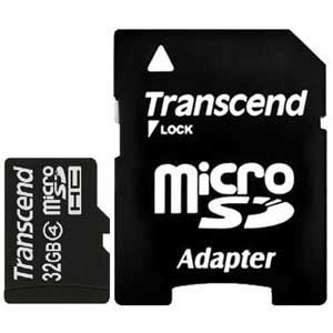 Transcend Micro SD 32GB, SDHC, Class 4, w/SD adapter ( TS32GUSDHC4 )